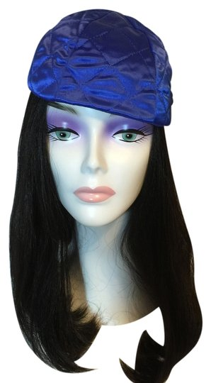 Other Satin Quilted Skullcap; Royal Blue [ Roxanne Anjou Closet ]