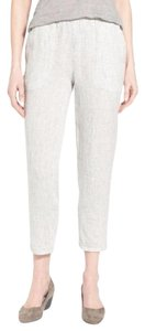 Eileen Fisher Checkered Linen Organic Relaxed Pants SOFT WHITE