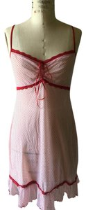 Eberjey Eberjey White and Red Polka Dot Mesh Nylon Slip / SM (4-6)