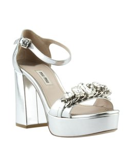 Miu Miu Leather Silver Sandals