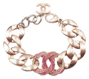 Chanel Chanel 16 Gold Chain Pink Crystal CC Bracelet