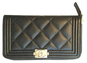 Chanel Chanel Boy Zip Around Wallet in Black Caviar w/ Stunning Gold Hardware