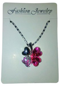 Other Valentines Day Pink Heart Lucky Four Leaf Clover Necklace Silver Chain