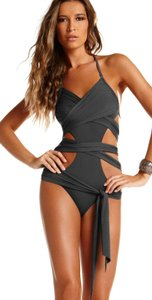 Vitamin A 2013 Slate Grey Runway Wrap Maillot Swimsuit