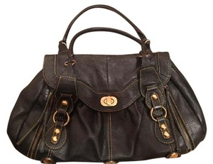 Maxximum Leather Metallic Hardware Satchel in black