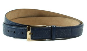 Gucci Gucci 345658 Unisex Square Buckle Diamante Leather Belt Blue 105-42 Display