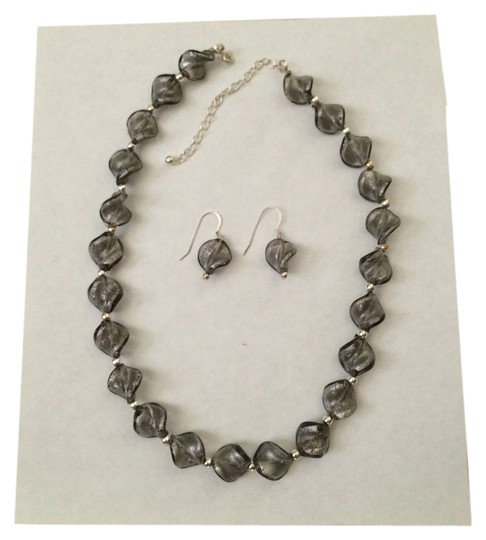 Other grey beaded necklace and earring set