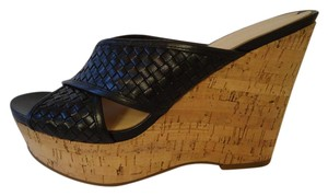 Via Spiga Leather Woven black Wedges