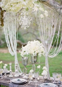 60 Feet Hanging Clear Faux Crystal Strands Glass Crystal Garlands