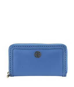 Tory Burch Tory Burch Robinson Blue Perforated Leather Zippered Wallet (113594)