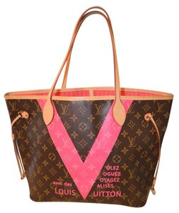 Louis Vuitton Mono Lv Green V Le Tote in Brown Monogram/Pink