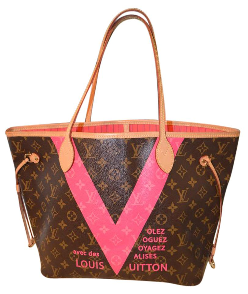 louis vuitton neverfull limited edition mm grenade monogram pink tote tradesy. Black Bedroom Furniture Sets. Home Design Ideas
