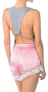 Rehab Back Out Gray Halter Blouse Chain Back Heather Gray Halter Top