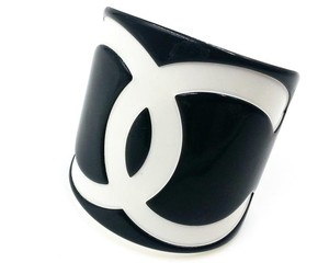 Chanel Chanel Black/ White CC Wide Bangle Cuff