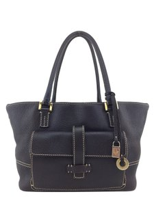 Loro Piana Gold Hardware Leather Logo Charm Tote in Brown