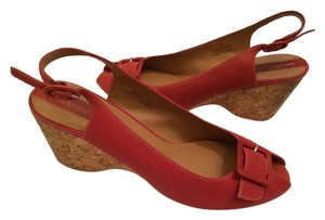 Kelly & Katie Leather Red Wedges