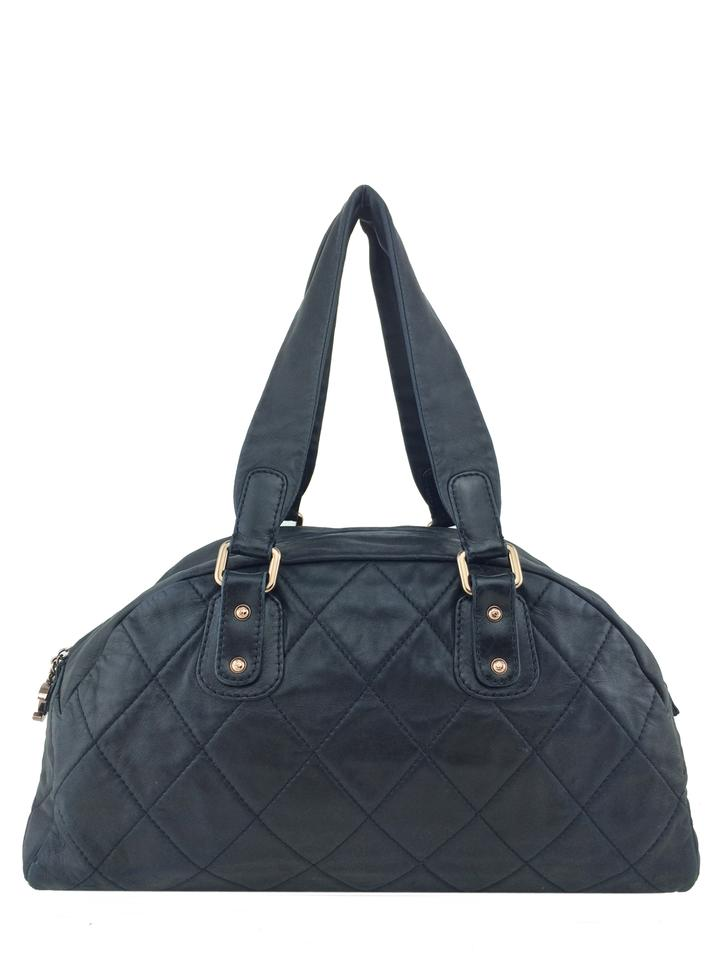 fbebdc203cfb Chanel Quilted Lambskin Cloudy Bundle Bowler Black Leather Shoulder ...