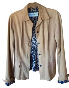 Dolce&Gabbana Suede Snap Closure tan / leopard lining Leather Jacket