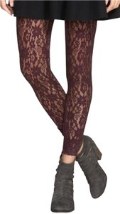 Free People NWT Lazy Lace Sheer Floral Pucker Stretch Leggings Blackberry Medium