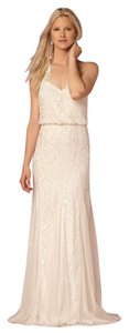 Adrianna Papell Ivory Beaded Polyester Tulle (Handmade) Grazia Vintage Wedding Dress Size Petite 2 (XS)