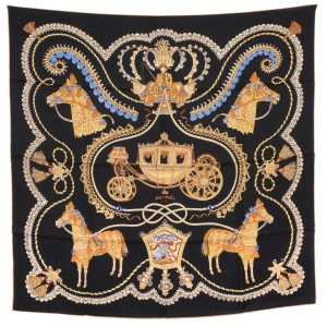 Hermès Hermes Black & Golden Paperoless Motif Silk Scarf