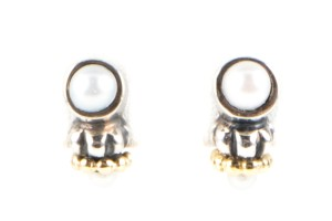 Lagos Lagos Caviar silver and yellow gold double cultured pearl stud earring