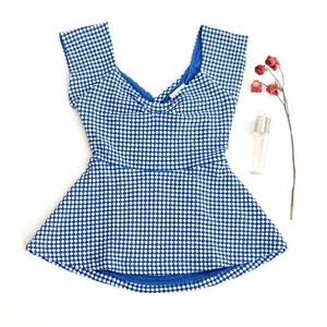 Anthropologie Summer Top Blue and White
