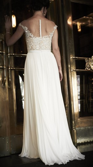Reem Acra White with Nude Liner On Top Silk/Lace/Beading Detail 2014 Bridal Collection Dress Size 8 (M)