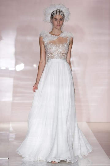 Reem Acra White with Nude Liner On Top Silk/Lace/Beading Detail 2014 Bridal Collection Wedding Dress Size 8 (M)