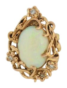 Other Antique Opal Diamond Accent Pendant Brooch in 18k Yellow Gold