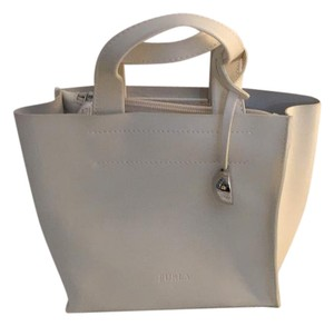 Furla Genuine Leather Tote in Beige Made in Italy