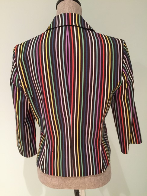 Other Black Multi-Colored Striped Jacket (Size 8)