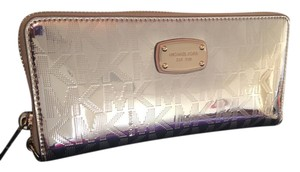 Michael Kors Brand New! Jet Set Metallic Gold Zip Around Wallet Wristlet