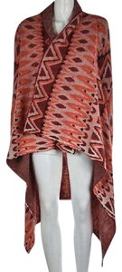 Anthropologie Sleeping Womens Orange Cardigan Printed Wool Casual Sweater