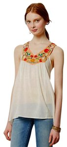 Anthropologie Very Sheer Bright Embroidery Top Ivory