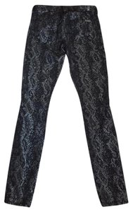 7 For All Mankind Gwenevere Snake Black Skinny Jeans-Coated