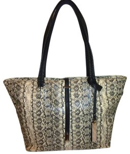 Vince Camuto Refurbished X-lg Leather Python Lined Tote in Cream and Black