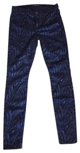 7 For All Mankind Navy Flocked Sateen Skinny Jeans