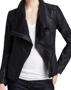 T Tahari Draped Shawl Collar Asymmetric Zip Front Leather Leather Jacket
