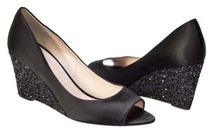 Kate Spade Glitter Sparkle Satin Peep Toe Black Wedges