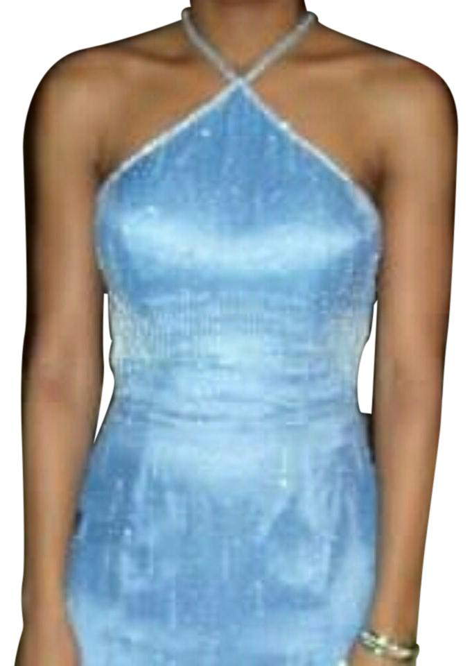 Periwinkle Blue Beaded Evening Gown Long Formal Dress Size 4 (S ...