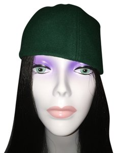 Other Sporty Felt Skullcap; Forest Green & Tan [ Roxanne Anjou Closet ]