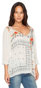 Johnny Was Embroidered V-neck Scalloped Floral 3/4 Sleeves Tunic