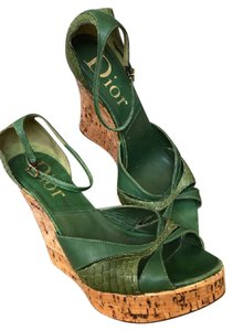 Dior Leather Sandals Green Wedges