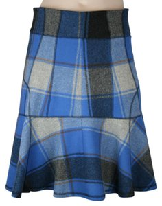 Derek Lam Plaid Fitted Flounce Ruffle Mini Skirt BLUE, BLACK, GREY