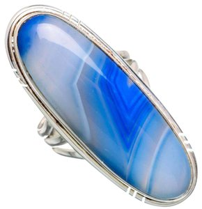 Other Large Blue Botswana Agate 925 Sterling Silver Ring Size 6.5