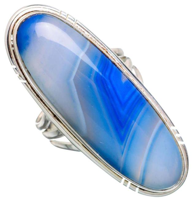 Large Blue Botswana Agate 925 Sterling Silver Size 6.5 Ring Large Blue Botswana Agate 925 Sterling Silver Size 6.5 Ring Image 1