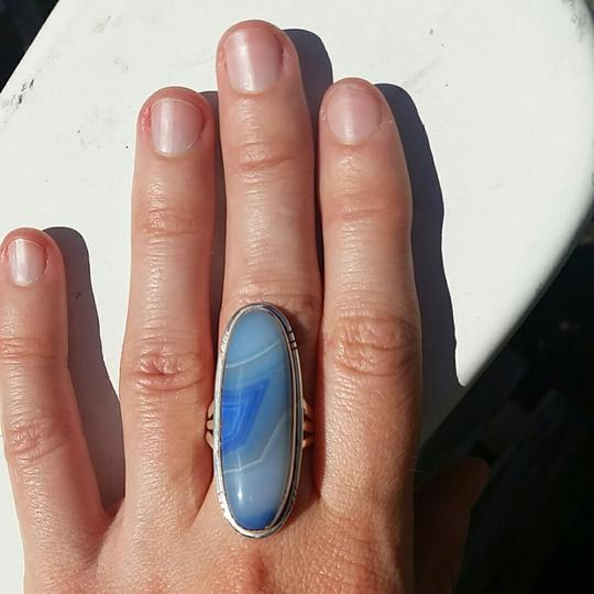 Other Large Blue Botswana Agate 925 Sterling Silver Ring Size 6.5 Image 1