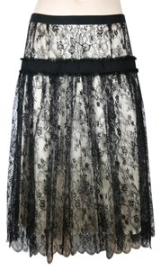 Dolce&Gabbana Gathered Lace Pleated Skirt BLACK, IVORY, CREAM
