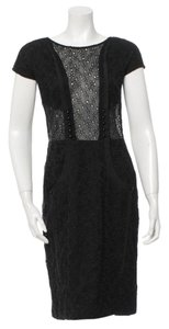 Mayle Concealed Zip Floral Lace Beaded Sheer Dress